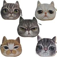 الجدة فتاة 2015 أزياء العلامة التجارية الجديدة لطيف الكرتون القط الوجه زيبر حالة كوين حالة المحفظة ماكياج عربة حقيبة الحقيبة