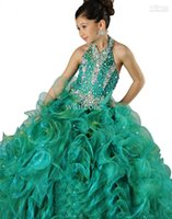 2015 Pageant платья для девочек Halter Ball Plaming Glitz Pageant платья каскадные оборками из бисера Crystal шнурок органза Pageant Pageant для подростков
