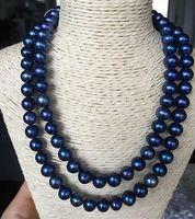 Magnifique collier de perles rondes bleues noires de Tahiti 9-10mm de 9 à 10 mm avec fermoir en or 18 carats