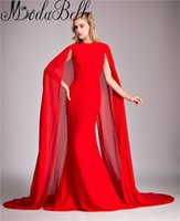 New Arab Red Mermaid Prom Dress Abito da sera lungo con mantello 2017 Real Photo Stretch abiti da ballo in raso personalizzati su misura