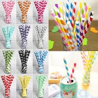 bunte Getränkpapierstrohe streifen Getränkpapierstrohe 61 färben umweltfreundlichen Trinkhalm