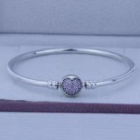 100% authentisch 925 Sterling Silber Armreifen Manschette Silber Kreis der Liebe Rosa CZ Armband passt für Pandora Charms Perlen Großhandel 1pc / lot