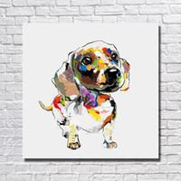 Pintura para la pared de la sala de estar pintado a mano pintura al óleo del perro decoración para el hogar cuadros de la pared arte moderno de la lona pintura animal sin marco