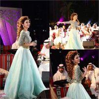 Myriam Fare 2019 Sparkly wulstige formale Abend-Kleider 3/4 langen Ärmeln Tüllrock Open Back Plus Size Arabisch Abschlussball-Partei-Kleider