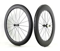 Livraison gratuite pleine fibre de carbone avant 60mm arrière 88mm profondeur pneu roues 700C 25mm largeur route vélo carbone roues