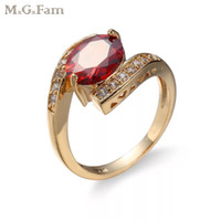 MGFam (168R) Red Oval Rings For Fashion Women CZ 18k Gold Pl...