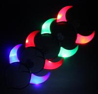 LED Flashing Horns Pałąk Glow Light Up Xmas Devil Hair Hoop Pałąki głowy Kostium Fancy Party Akcesoria