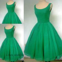 Vintage 1950 Curto esmeralda esmeralda vestido de cocktail sexy colher pescoço chiffon feliz festa de baile e vestido de regresso homecoming