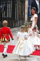 2016 Muito Feito Sob Encomenda Flor Grils Princesa Inchado Vestidos de Baile Vestidos de Festa de Aniversário Da Menina do Marfim Branco Pageant Aniversário Comunhão Vestidos
