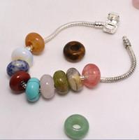 Jóias DIY Pedra Natural Gemstone Beads Alta Polido 8 * 14mm Solta Beads Big Hole Fit Encantos Pulseira Europeia Acessórios de Jóias