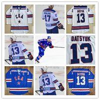 13 Pavel Datsyuk KHL Trikot, CKA St. Petersburg 17 Ilya Kovalchuk KHL Blau Weiß Benutzerdefinierte Hockey Trikots Billig