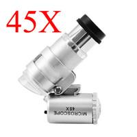 45X Mikroskop Schmuck Lupen Juwelier Lupen 45X Mini Lupe Tasche Mikroskope Lupe mit 2 LED + Ledertasche Freies Schiff