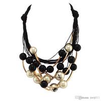 Stella Collana di gioielli graziosi Collana di corda nera perline Collana dorata Collana girocollo di collare per le donne Abito CE1570