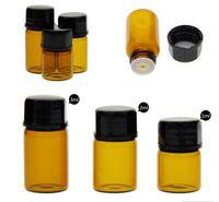 Hot 1ml Amber Roll Glasflasche Amber Glasfläschchen Kleine aufrollbare, nachfüllbare Flasche mit ätherischem Öl