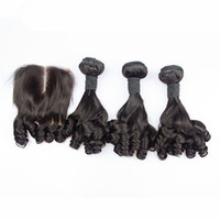 4pcs 로트 버진 말레이어 Aunty Funmi 인간의 머리카락은 4x4 레이스 클로져 로맨스 컬즈 Funmi 헤어 3Bundles 클로저 중간 부분