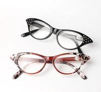 Novas Mulheres Olho de Gato Óculos de Leitura Homens Resina Full Frame Óculos Óculos de Diamante Leopardo Preto Óculos de Leitura 10 pçs / lote
