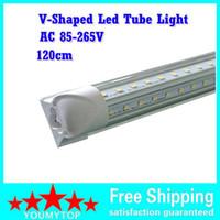 양면 4ft LED T8 라이트 튜브 통합 V 자형 270 각도 울트라 밝은 쿨러 도어 LED 튜브 AC 85-265V