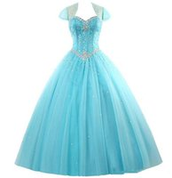 2017 Fashion Crystal Ball Gown Quinceanera Dresses with Bead...