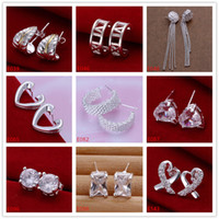 Toptan kadın gümüş kaplama küpe 10 çift çok karışık stil EME4, yeni varış moda 925 gümüş plaka saplama küpe