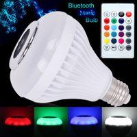 Ampoules LED E27 Smart Music Lampe RGB Sans fil Bluetooth audio Bluetooth jouant à la télécommande de Lampada lumineux éclairage de la fête Accueil