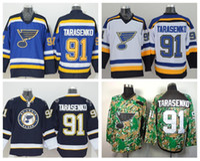 St. Louis Blues Hockey 91 Vladimir Tarasenko Camisetas para fanáticos del deporte Color del equipo Azul marino Blanco Alterno Cosido en 100% bordado