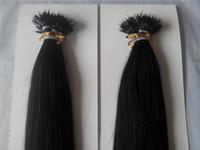 "Wysokiej jakości 14 ""-28"" Nano Rings Indian Remy Human Hair Extensions 100G / PK 1G / S Color # 1 Jet Black Nano Tip Extensions"