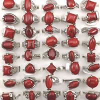 Anéis De Turquesa Vermelho Tamanho Misto Para As Mulheres Da Moda Jóias 50 pcs Atacado