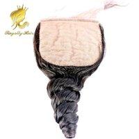 Vendita calda 8-20 pollici onda allentata 100% brasiliana capelli umani parte superiore chiusura del merletto a base di seta 4 * 4