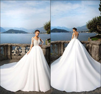 Plus Size A- Line Wedding Dresses 2018 Long Sleeve Summer Bea...