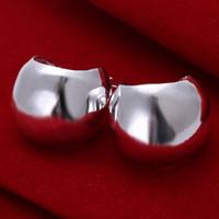 Clássico Prata Brinco 925-Sterling-Silver-Banhado A Declaração de Jóias Brinco de Argola Ampla Brinco Redondo Para As Mulheres Barato Moda Jóias