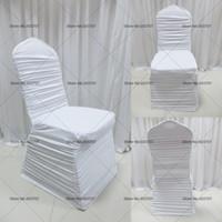 100 st Gratis frakt Färgglada Spandex Lycra Ruffled Chair Cover Ruched Chair Cover för bröllopsinredning