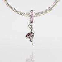 Mode Autruche Animal Charme 925 Argent Pandora Style Européen Rose CZ Lâche Perles pour Serpent Sécurité Chaîne Fit BRICOLAGE Charme Bracelet Bijoux