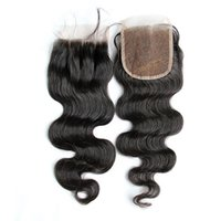 7A Cheap Lace Closure 4x4 Peruvian Virgin Body Wave Human Hair Top Lace Closures Pieces Free/Middle/Three Way Part Closure Free Shipping