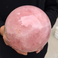 الوردي الطبيعي روز كوارتز ماجيك كريستال شفاء سفير الكرة