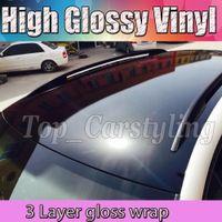 1.52x20m 3 strati nero lucido dell'automobile del vinile Wrap Sticker bolla di aria libera lucido piano black di qualità superiore foglio di lucido