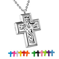 316l Edelstahl-Anhänger Halskette Aromatherapie-Diffusor Halskette Duftstofflocket Mode Kreuz für Frauen-Weihnachtsgeschenk