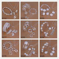 Toptan kadın Gümüş Takı Setleri 6 Takım Bir Lot Karışık Stil EMS39, Moda 925 Gümüş Kolye Bilezik Küpe Yüzük Takı Seti