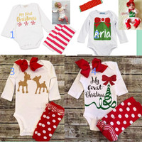 Cute 2016 Newborn Baby Girl manga comprida Bodysuit Jumpsuit My First Christmas Outfits Autumn Kids Suit