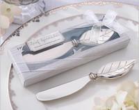 2016 Nieuwe Collectie Brood Cake Boter Mes Vork Bruiloft Gunst Chrome Leaf Strooier Gunst