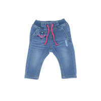Baby Clothes Girls Flower Jeans Long Pants Knitting Denim Em...