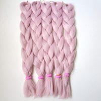 """무료 배송 24 """"80g 핑크 바닐라 컬러 점보 꼰 머리 찌꺼기 소프트 아프리카 크로 셰 뜨개질 박스 braids T2334"""