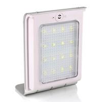 Solar Powered 16 LEDS Sensor de sonido Panel de energía solar Luz de jardín Luz de pared al aire libre IP64 800mAh Batería auto encendido / apagado Puro blanco