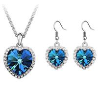 Kristall aus Swarovski Elemente Blau Kristall Herz Halsketten Anhänger 18K vergoldete Tropfen Ohrringe Für Frauen Schmuck Set 5533