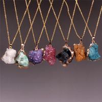 Gema áspera branca druzy quartzo ametista natural ágata nugget beads pingente colar design exclusivo freeform stone pingente com aro de ouro banhado
