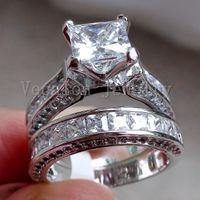 Vecalon Fashion Jewelry 7mm Cz diamante Fidanzamento Wedding Band Ring Set per le donne Anello in oro bianco 14KT Filled Party