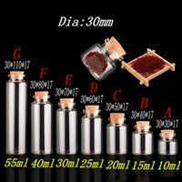 10ml 15ml 20ml 25ml 30ml 40ml Glass Bottles with Cork Empty ...