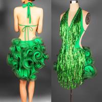 New Adult Latin Dance Dress Abiti salsa Tang cha cha cha sala da ballo paillettes paillettes Gruppo Dance Dress 2Color S-XXL personalizzabile
