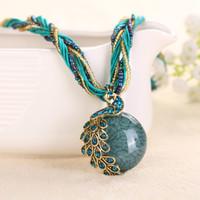 Nouveau collier de mode pendentif perles en résine vintage Bohème style ethnique collier ras du cou déclaration de bijoux pour les femmes