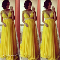 2019 Amarelo Baby Shower Party Dress New Com Decote Em V Longo Mulheres Grávidas Formal Ocasião Especial Vestido de Noite Vestido Plus Size vestidos de festa
