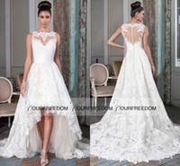 Vestidos de novia 2019 New Sheer Jewel Neck Puffy Vestido asimétrico asimétrico Vestido de novia